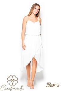 3b82095376 CM2516 Asymetryczna sukienka na ramiączkach - ecru - 2840821528