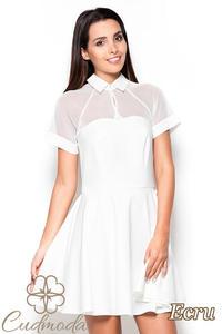 546a359731 CM2519 Rozkloszowana sukienka z tiulową górą - ecru - 2841455139