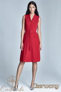 CM2588 Elegancka sukienka z kieszeniami i przewiązana w pasie - czerwona - 2841455308