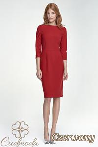 CM2593 Sukienka do pracy z rękawem 3/4 - czerwona - 2841455334