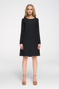 CM2656 Klasyczna sukienka z długim rękawem - czarna - 2843666854