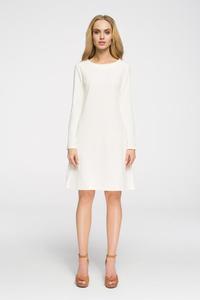 CM2656 Klasyczna sukienka z długim rękawem - ecru - 2843666855