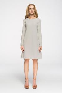 CM2656 Klasyczna sukienka z długim rękawem - szara - 2843666856