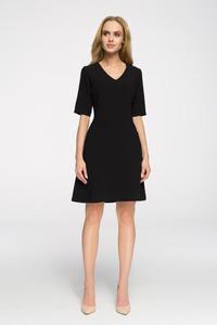 CM2676 Taliowana sukienka do pracy - czarna - 2843666922