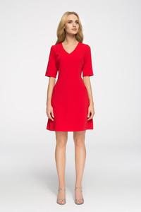 45f5fb64f2 CM2676 Taliowana sukienka do pracy - czerwona - 2843666924