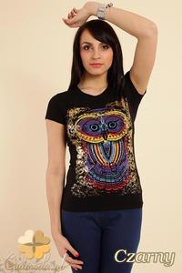 CM0211 T-shirt damski z nadrukiem sowy - czarny - 2832070151