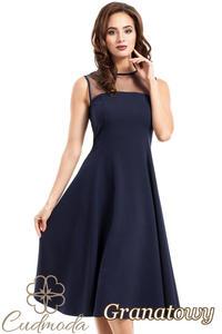 CM2621 Rozkloszowana sukienka wieczorowa z tiulową górą - granatowa - 2843943376