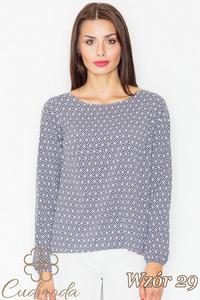 CM2735 Klasyczna bluzka z długim rękawem - wzór 29 - 2847408227
