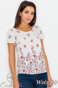 CM2751 Klasyczna bluzka z krótkim rękawem - wzór 60 - 2847408273
