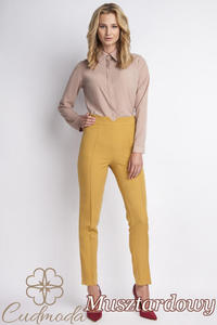 CM2776 Klasyczne spodnie biurowe - musztardowe - 2847866376