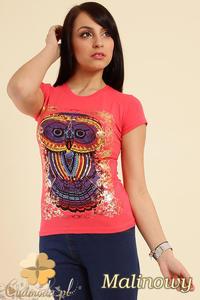 CM0211 T-shirt damski z nadrukiem sowy - malinowy - 2832070194