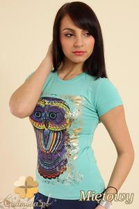 CM0211 T-shirt damski z nadrukiem sowy - miętowy - 2832070195