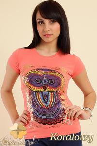 CM0211 T-shirt damski z nadrukiem sowy - koralowy - 2832070196