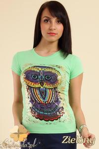 CM0211 T-shirt damski z nadrukiem sowy - zielony - 2832070197