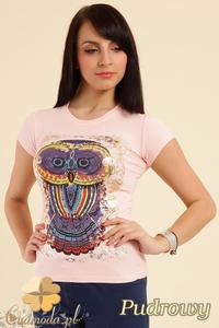 CM0211 T-shirt damski z nadrukiem sowy - pudrowy - 2832070198