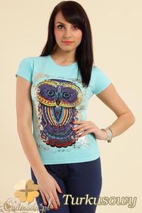 CM0211 T-shirt damski z nadrukiem sowy - turkusowy - 2832070199