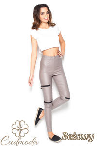 CM2850 Skórzane spodnie damskie z zamkami - beżowe