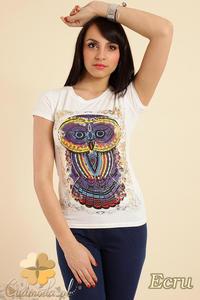 CM0211 T-shirt damski z nadrukiem sowy - ecru - 2832070200