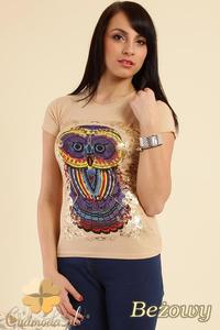 CM0211 T-shirt damski z nadrukiem sowy - beżowy - 2832070201
