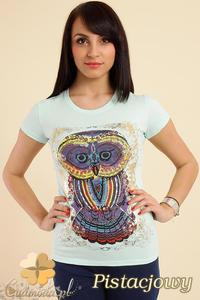 CM0211 T-shirt damski z nadrukiem sowy - pistacjowy - 2832070202