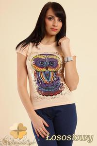 CM0211 T-shirt damski z nadrukiem sowy - łososiowy - 2832070204