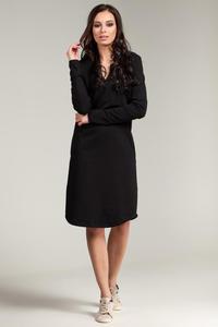 CM2869 Klasyczna sukienka z rozcięciem na dekolcie - czarna - 2849408019