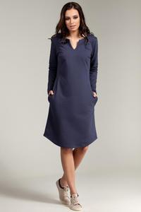 CM2869 Klasyczna sukienka z rozcięciem na dekolcie - niebieska - 2849408020