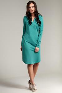 CM2869 Klasyczna sukienka z rozcięciem na dekolcie - zielona - 2849408021