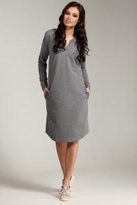 CM2869 Klasyczna sukienka z rozcięciem na dekolcie - szara - 2849408022