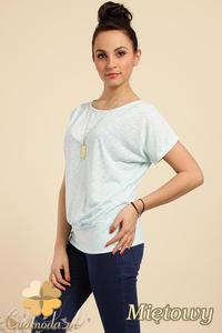 CM0228 Gładka bluzka tunika + wisior sowa - miętowa - 2832070216