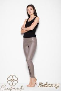 CM2953 Eleganckie spodnie skórzane - beżowe