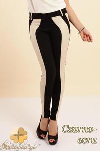 CM0237 Włoskie dwukolorowe legginsy ze skórzaną wstawką - czarno-ecru - 2832070247