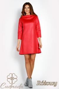 CM3018 Klasyczna sukienka trapezowa - różowa - 2850667472