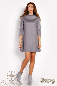 CM3018 Klasyczna sukienka trapezowa - szara - 2850667473