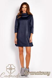 CM3018 Klasyczna sukienka trapezowa - granatowa - 2850667474