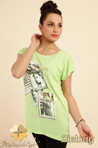 CM0229 Bluzka tunika t-shirt kimono nadruk - zielona - 2832070252