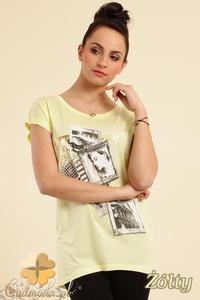 CM0229 Bluzka tunika t-shirt kimono nadruk - żółta - 2832070255