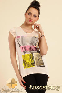 CM0233 Modna bluzka t-shirt tunika kimono - łososiowa - 2832070258