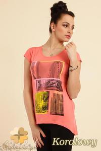 CM0233 Modna bluzka t-shirt tunika kimono - koralowa - 2832070259