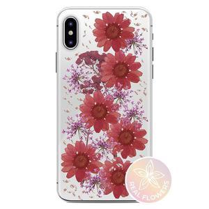 PURO Glam Hippie Chic Cover - Etui iPhone Xs Max (prawdziwe płatki kwiatów czerwone) - 2876865396