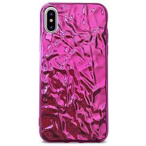 PURO Glam Metal Flex Cover - Etui iPhone Xs / X (metaliczny efekt różowy) - 2876865416
