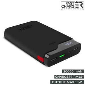 PURO Extra Power Type-C - Power Bank 20000 mAh 15 W + wyświetlacz LED (czarny) - 2881889918