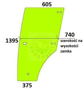szyba drzwi lewe do John Deere 5215F, 5215V, 5315F, 5315V, 5315F, 5315V, 5615F, 5615V - 2855809276