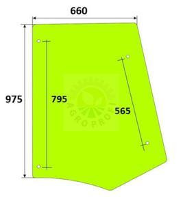 szyba boczna lewa / prawa Case 580 ST, 590 ST, 695 ST, 590 SR, 695 SR - 2860197373