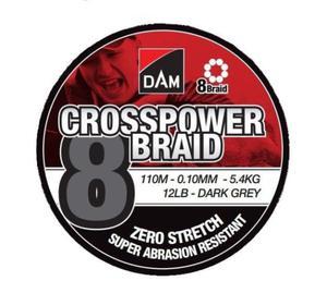 Plecionka DAM Crosspower 8-Braid 0.13MM 7,2KG/16LB/110M - Dark Grey - 2873772604