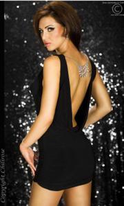 CR-3286 czarna mini-sukienka z perełkami - 2831089479