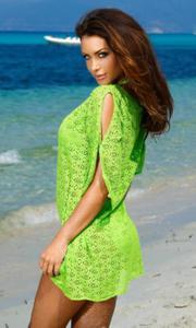 149adfd74e2306 203S siateczkowa tunika na lato w koloże zielonym - 2835459726