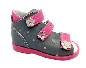Sandały profilaktyczne BENA wzór 05/1 wąska stopa tęgość F kolor szary kwiat - 2889851777