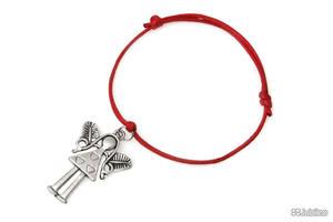 BRANSOLETKA CZERWONA Z ANIOŁKIEM amulety talizmany kolor czerwony anioł (ar813) - 2847367170