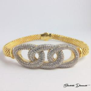 Elegancka bransoletka damska - srebro 925 złocone - 2840681055